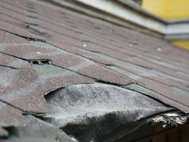 missing residential roof shingles